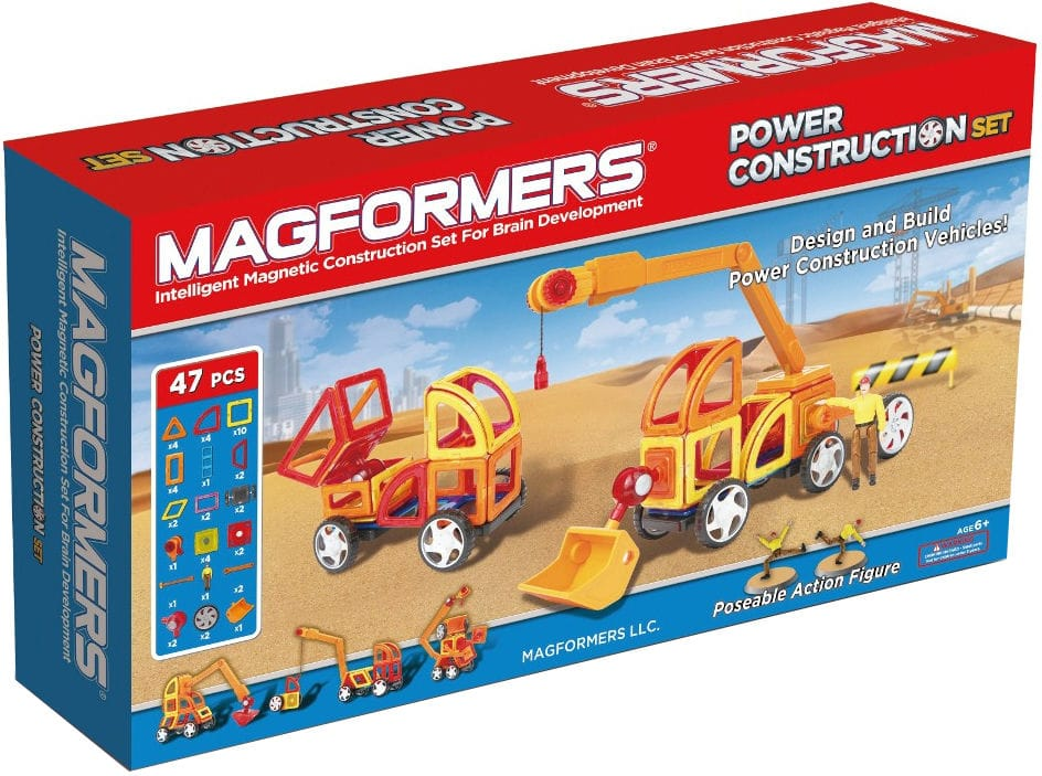 Магнитный конструктор MAGFORMERS 63090 Power Construction Set, MAGFORMERS